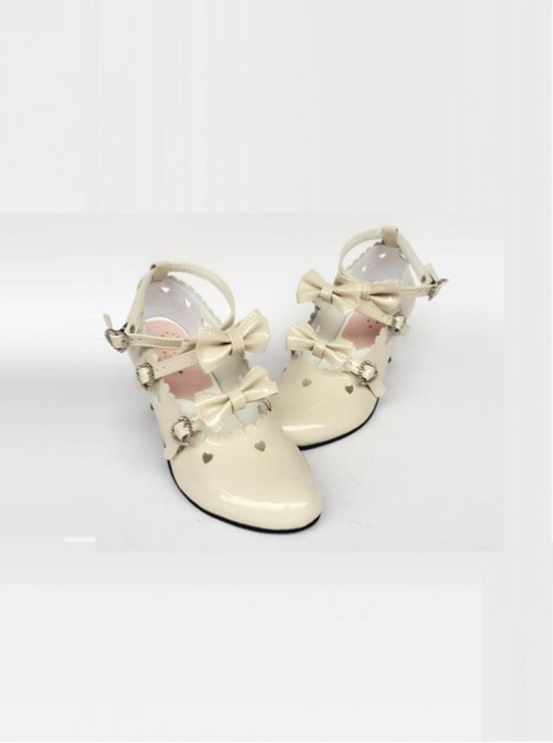 Hollow Out Heart-shaped Apricot Mirror Face Bowknot Lolita High Heel Shoes