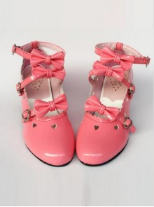 Hollow Out Heart-shaped Watermelon Red Mirror Face Bowknot Lolita High Heel Shoes