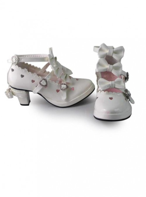 Hollow Out Heart-shaped Ivory Mirror Face Bowknot Lolita High Heel Shoes