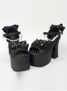 Bead Chain Black Sequins Bowknot Lolita Super High Heel Sandals