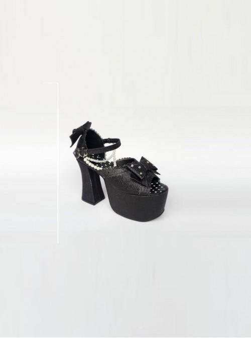 Bead Chain Black Sequins Bowknot Lolita Super High Heel Sandals