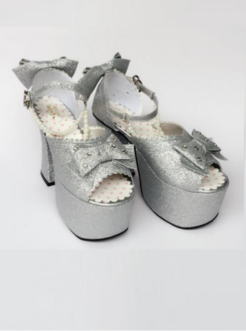 Bead Chain Silvery Sequins Bowknot Lolita Super High Heel Sandals
