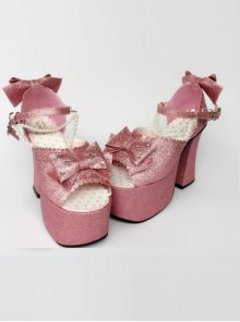 Bead Chain Pink Sequins Bowknot Lolita Super High Heel Sandals