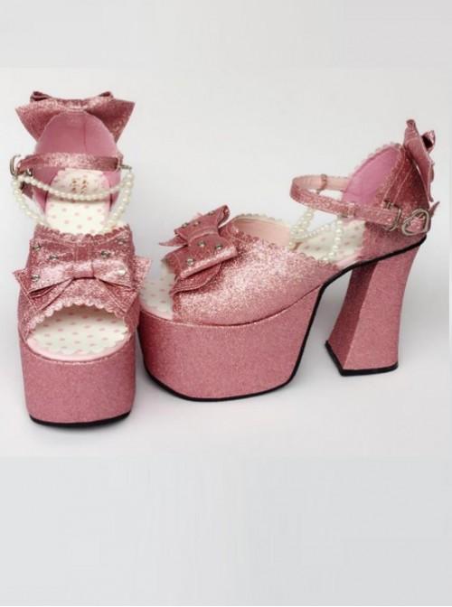 Bead Chain Pink Sequins Bowknot Lolita Super High Heel Sandals