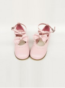 Cute Lace Pink Bowknot Lolita Low Heel Shoes
