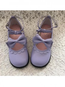 Cute Lace Violet Bowknot Lolita Low Heel Shoes
