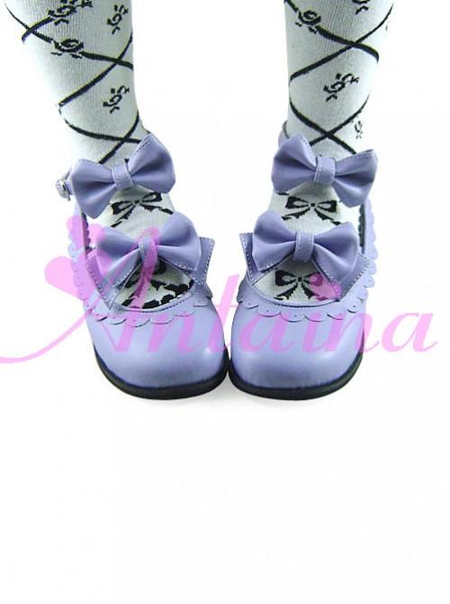 Cute Lace Violet Bowknot Lolita Low Heel Shoes