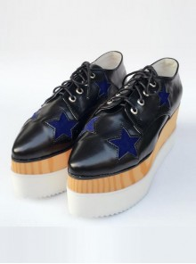 Pointed-toe Lolita Dark Blue Star Pattern Super High Heel Shoes
