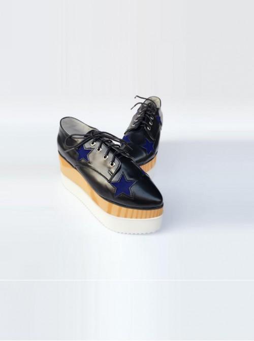 Pointed-toe Lolita Dark Blue Star Pattern Super High Heel Shoes