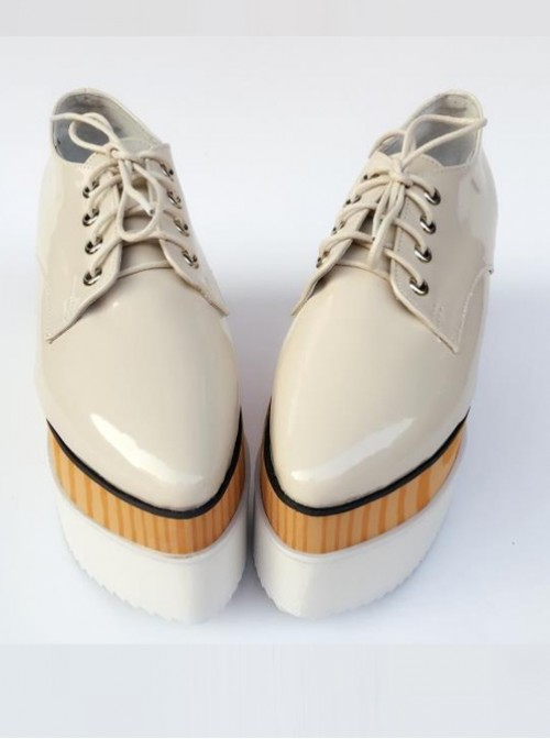 Pointed-toe Lolita Pure Apricot Star Pattern Super High Heel Shoes