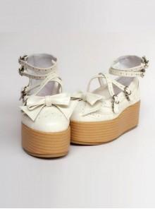 Milk-white Bowknot Harajuku Style Lolita Flatform Shoes