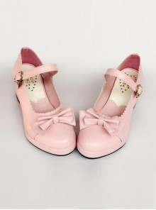 Princess Bowknot Pink Matte Lolita High Heel Shoes