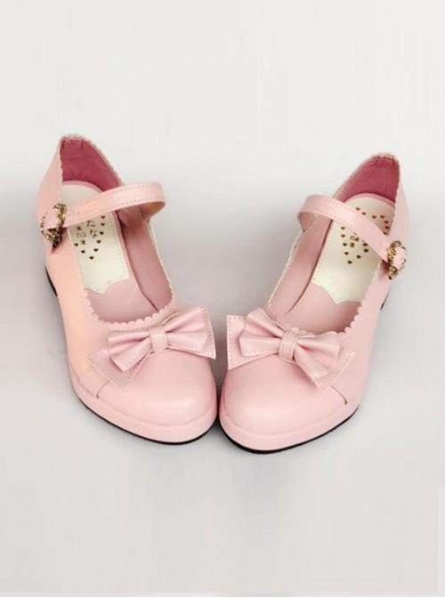 Princess Bowknot Pink Matte Lolita High Heel Shoes