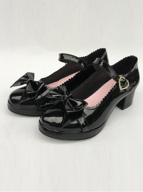 Princess Bowknot Black Mirror Face Lolita High Heel Shoes