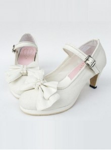 White Pearl Bowknot White Lolita High Heel Shoes
