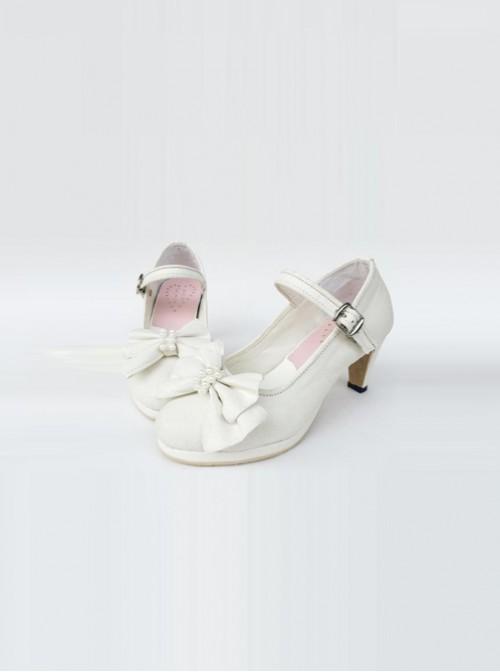 White Pearl Bowknot White Lolita High Heel Shoes