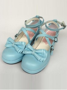 Bowknot Circular Buckle Lake Blue Matte Lolita Low Heel Shoes