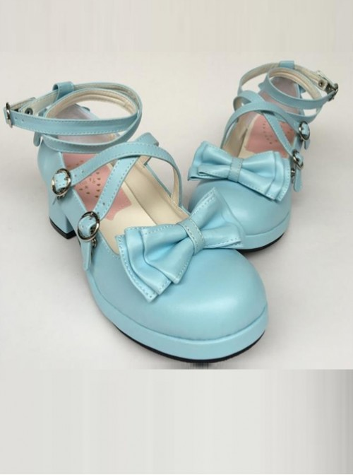 Bowknot Circular Buckle Lake Blue Matte Lolita Low Heel Shoes