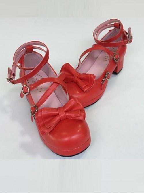 Bowknot Circular Buckle Watermelon Red Matte Lolita Low Heel Shoes