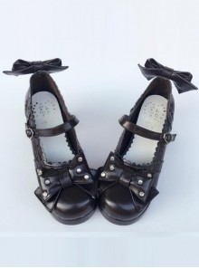 Bowknot Retro Black Lolita High Heel Shoes