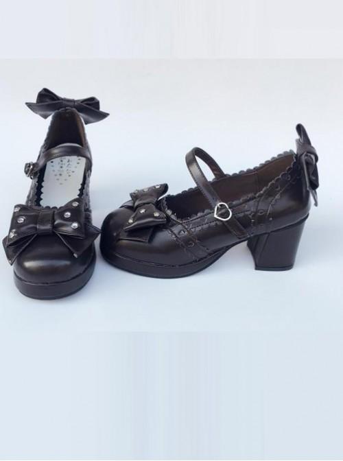 Bowknot Retro Black Lolita High Heel Shoes