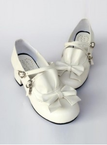 White Matte Bowknot Flounced Cute Cheap Sweet Lolita High Heel Shoes