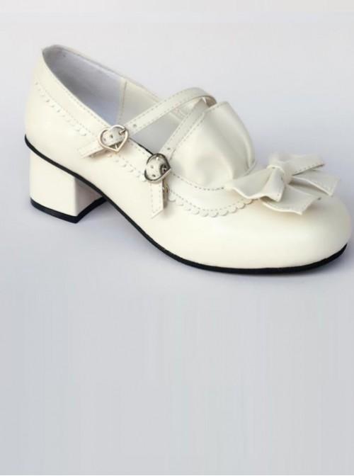 White Matte Bowknot Flounced Cute Cheap Sweet Lolita High Heel Shoes