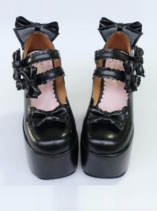 Cute Lace Bowknot Black Matte Sweet Lolita Super High Heel Shoes