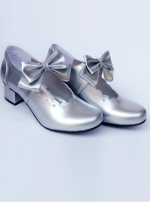 Silver Bowknot Heart-shaped Hollow Out Bride Shoe Lolita Middle-heel Shoes