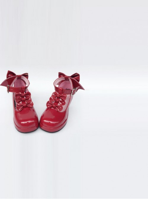 Red T-shaped Band Bowknot Sweet Lolita Platform Shoes