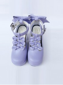 Violet T-shaped Band Bowknot Sweet Lolita Platform Shoes