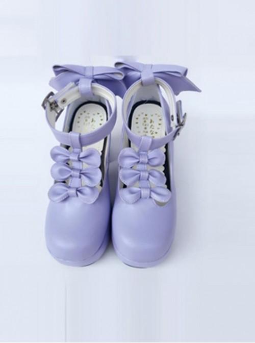 Violet T-shaped Band Bowknot Sweet Lolita Platform Shoes