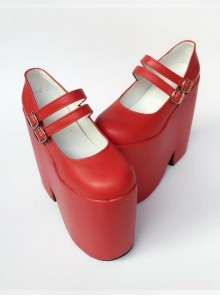 Two Buckles Pure Red Lolita Super High Heel Shoes