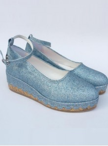 Glittering Sequins Blue Princess Shoes Lolita High Heel Shoes