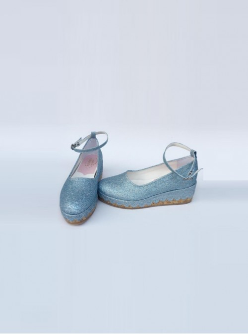 Glittering Sequins Blue Princess Shoes Lolita High Heel Shoes