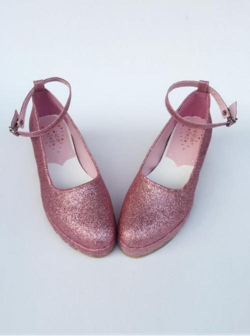 Glittering Sequins Pink Princess Shoes Lolita High Heel Shoes