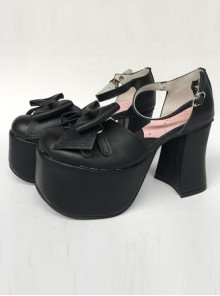 Concise Black Bowknot Leather Lolita High Heel Shoes