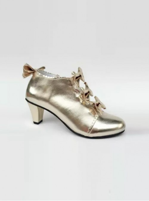 Bowknot Champagne Color Zipper High upper Lolita High Heel Ankle Boots