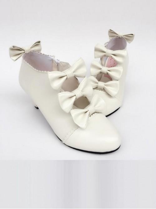Bowknot White Matte Zipper High upper Lolita High Heel Ankle Boots