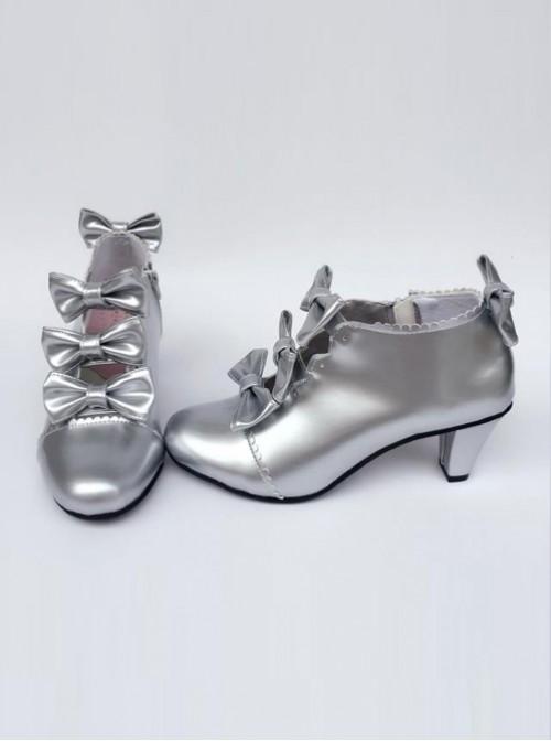Bowknot Silver Zipper High Upper Lolita High Heel Ankle Boots