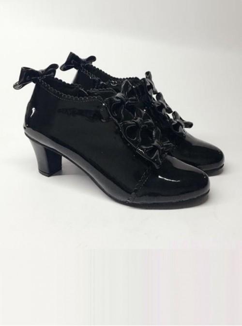 Bowknot Black Mirror Face Zipper High Upper Lolita High Heel Ankle Boots