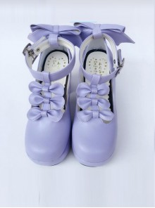T-shaped Buckles Violet Matte Bowknot Lolita High Heel Shoes