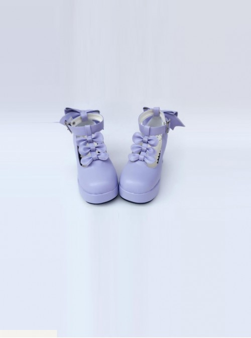 T-shaped Buckles Violet Matte Bowknot Lolita High Heel Shoes