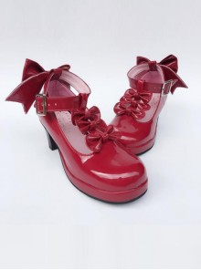 T-shaped Buckles Wine Red Mirror Face Bowknot Lolita High Heel Shoes