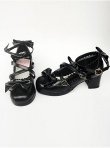 Black Matte Bowknot Lolita High Heel Shoes