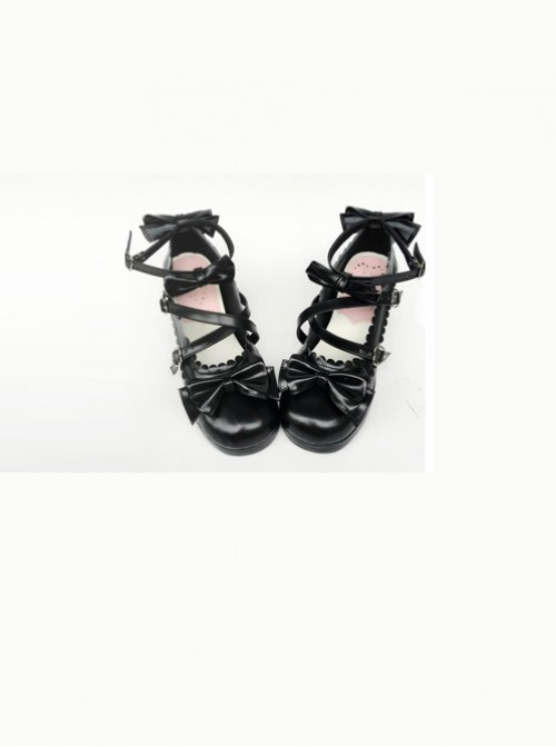 Black Matte Bowknot Lolita High Heel Shoes