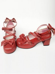 Wine Red Matte Bowknot Lolita High Heel Shoes