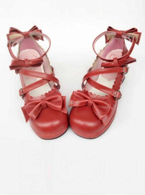 Wine Red Matte Bowknot Lolita High Heel Shoes