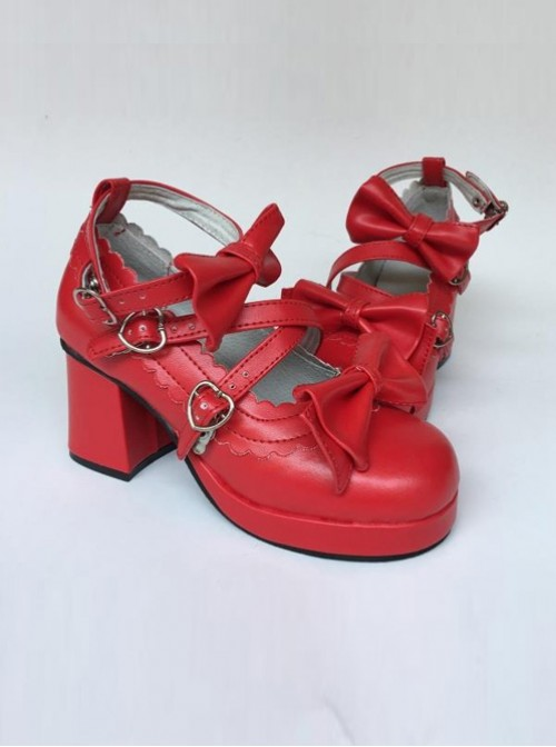 Red Matte Bowknot Lolita High Heel Shoes