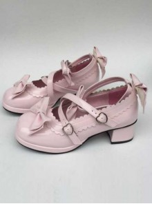 Pink Mirror Face Bowknot Lolita High Heel Shoes